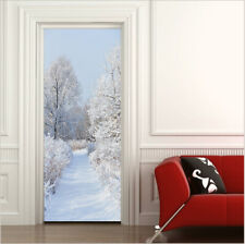 3D Forest and Road Covered by Snow Door Stickers Self-Adhesive Photo Door Murals