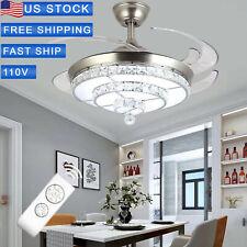 "42"" Invisible Crystal Ceiling Fan Light Living Room Chandelier Fixture+ Rem LP"