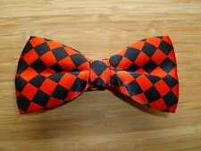 RED BLACK CHECKED BOW TIE SUMMER BALL PROM PARTY ALTERNATIVE ROCK REBEL COSPLAY