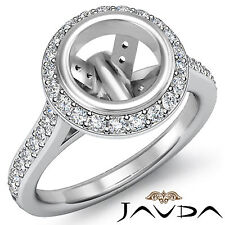 Diamond Engagement Ring Platinum 950 Round Shape Semi Mount Halo Pre-Set 0.8Ct