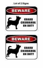 """2 count """"Beware Guard Chihuahua (silhouette) on Duty"""" Laminated Dog Sign"""