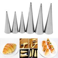 5pcs Baking Maker Horn Spiral Tube Baked Croissants Cake Mold Stainless Steel