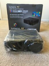 Lumens 4K LED Smart Projector 3D/HDMI with mounting bracket