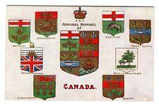 Armorial Bearing of CANADA & 8 Provincial Shields 1907-15 Tuck Heraldic Postcard