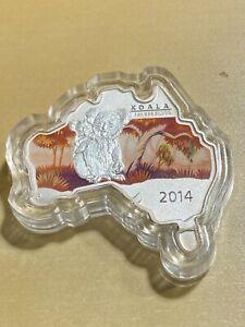2014  Australia 1 Dollar Australian Map Shaped Silver Coin Koala!! Low Mintage!!