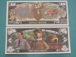 4 Bills ~ YOGI BEAR: Cartoon Character in Shows ~ $1,000,000 One Million Dollars