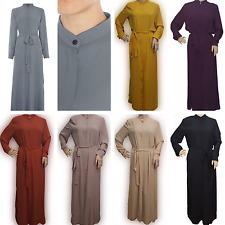 Maxi Shirt Abaya Long Straight Cut Open with Belt Collar Cardigan Kaftan