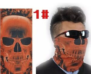 Men Red Skull Face Pattern Neck Shield Seamless Bandana Mask Wind Protector