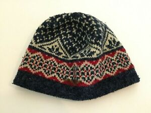 LL Bean Vintage Beanie Hat Wool Knit Cap Fleece Lined Blue Red Ivory Nordic