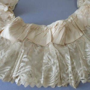 """Antique Cream Satin + FRENCH Lace 2-Layered Trim 38"""" X 5"""" Salvaged Wedding Gown"""