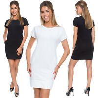 Womens Mini Dress Short Sleeves Crew Neck Column Style Loose Fit Pockets FT3748
