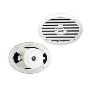 """Pair Audiopipe APSW-6932 6x9"""" 2-Way Marine Speaker 300W Max White"""