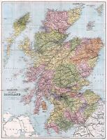 MAP ANTIQUE 1892 BARTHOLOMEW NEW TOURIST SCOTTISH REPLICA POSTER PRINT PAM0373