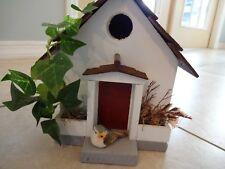 Vtg Handmade Americana country wooden church birdhouse signed 1993, mint