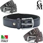 Cintura in pelle di vernice lucida uomo made in italy elegante casual cinta
