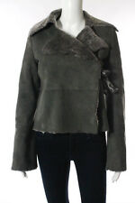 New Club Monaco Gray Suede Shearling Lined Bow Hook Front Molly Coat Size S