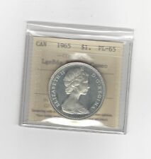 **1965 T-3 LgBds B5**, ICCS Graded Canadian Silver Dollar **PL-65 Cameo**