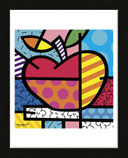 FRAMED ART - The Apple by Romero Britto Print Contemporary Black Frame 13x16