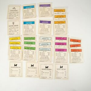 28 Title Deed Property Cards Full Size Original Parts for Monopoly Board Game
