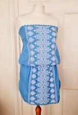 New Melissa Odabash Amber Bandeau Dress Size S Periwinkle/White