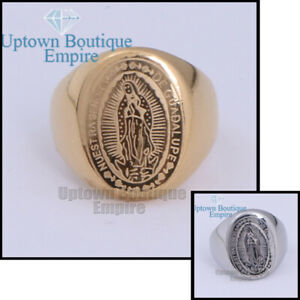 Men's Stainless Steel Ring Virgin Mary Virgen De Guadalupe Anillo Size 7-12