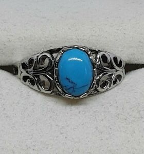 SIGNED SETA STERLING SILVER 925 FILIGREE TURQUOISE RING SIZE 8