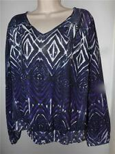 chicos purple artsy rhinestones long sheer sleeve poly tee top size 3 L xl