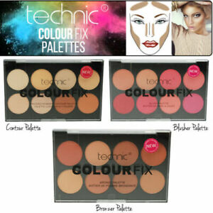 Technic Colour Fix Contour Blusher Bronze Makeup Palette Powder Kit - Set of 3