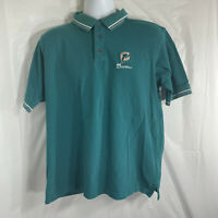 Vintage Miami Dolphins NFL Apparel Mens Large Button Up Golf Polo Teal Shirt