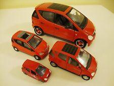 MERCEDEZ BENZ A CLASS 1997 RED MAISTO Lot of 4 Die Cast Cars 1:18 1:24 1:35 1:64