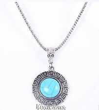Stunning Natural Round Turquoise Necklace Pendant Tibetan Chain