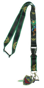 The Legend of Zelda Lanyard with 3D Rubber Shield Keychain and Clear ID Holder