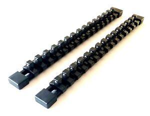 2 GOLIATH INDUSTRIAL 3/8 ABS MOUNTABLE SOCKET RAIL HOLDER ORGANIZER BLACK SH38BL