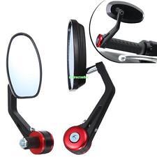 7/8'' 22mm Coppia Retrovisori Specchietto Manubrio Moto Bar End Alluminio Rosso