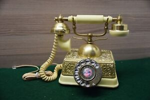 Vintage Style Brass Rotary Dial Telephone