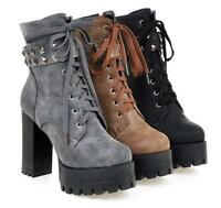 Womens High Block Heel Punk Rivet Decor Platform Lace Up Hot Ankle Boot Zip Club