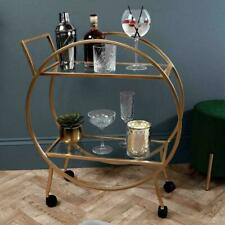 Free P&P Stunning LARGE 2 Tier Round Drinks Trolley Art Deco Style Antique Gold