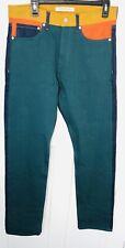 $198 Calvin Klein Men 32x34 Straight Color Block Jeans Italian Denim Teal Orange
