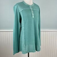 Sz XL Soft Surroundings Boho Turquoise Thermal Waffle Knit Top Shirt Blouse NWT