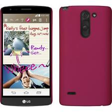 Hardcase for LG G3 Stylus rubberized hot pink Cover + protective foils