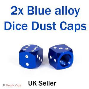 2X Blue Dice Alloy Valve Stem Dust Caps Car Mountain Bike Retro stocking fillers