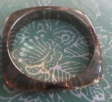 Vintage SQUARE Clear Gold Translucent Lucite Bangle Bracelet