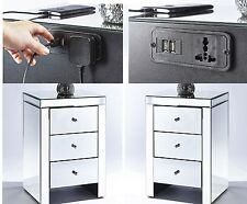 Set x 2 Mirrored bedside tables 3 drawers with New built in USB