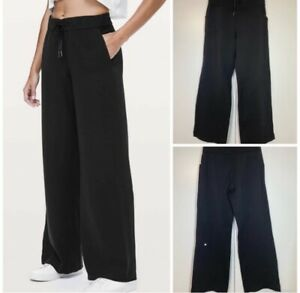 """Lululemon Women's On The Fly Wide Leg Pants Black Inseam 31""""-Relaxed Fit Size 6"""