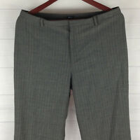 GAP Stretch Women Sz 12 Gray Wool Blend Striped High Straight Dress Career Pants