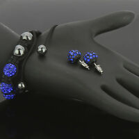 "Men's Iced Out Disco Ball Fully Cz ""Midnight Blue"" Hip-Hop Bracelet Free Earring"