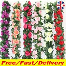 2x8Ft Artificial Faux Flower Silk Rose Leaf Garland Vine Ivy Home Party Red NV