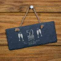 Personalised Slate 50th Anniversary Plaque Gift SL-RC39
