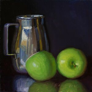 """Original oil painting a day still life realism metal cup green apple 8x8"""" Y Wang"""