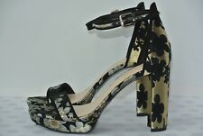NEW Nine West Dempsey Womens 6 M Black & Gold Floral Ankle Strap Platform Heels